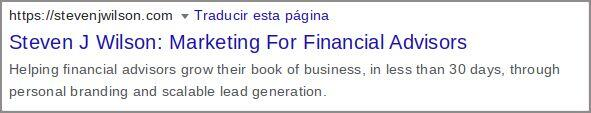 Title Tag Example for Financial Advisor SEO