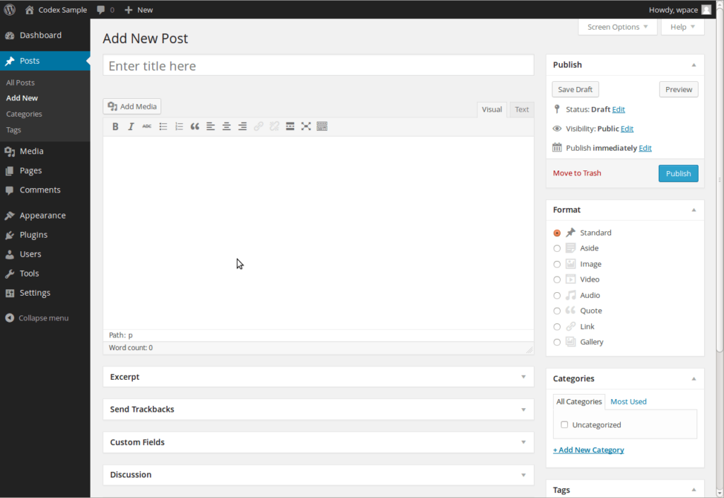 WordPress Dashboard