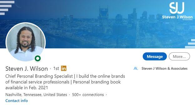 LinkedIn Profile branding Statement Example
