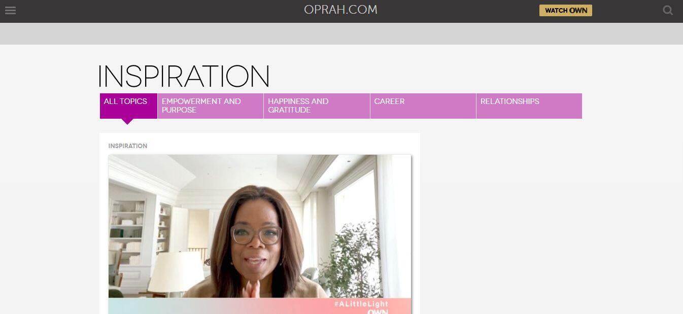 Oprah Winfrey Thought Leadership Content Example